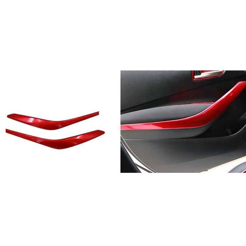 2Pcs ABS Carbon Fiber Car Inner Front Door Armrest Cover Trim Door Handle Cover Trim  Red