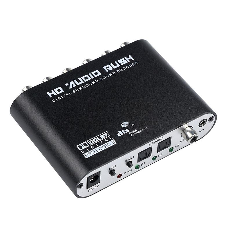 5.1 Audio Gear DTS AC-3 6CH Digital Audio converter LPCM To 5.1 Analog Output 2.1 Digital Audio Decoder For DVD PC black
