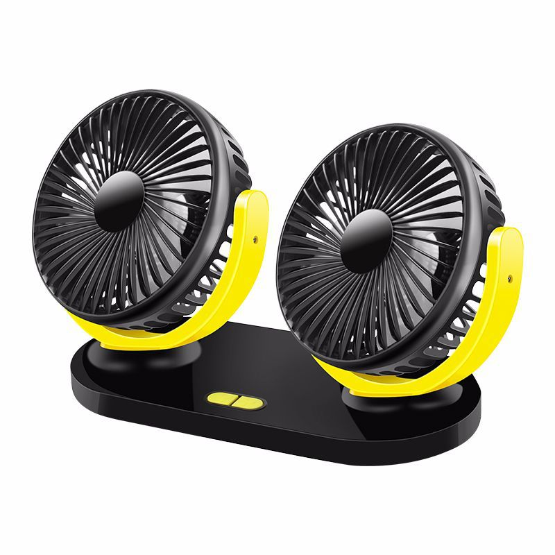 12V / 24V USB Car Cooling Fan Low Noise Summer Air Conditioning 360 Degrees Rotation Adjustable Car Fan Black yellow