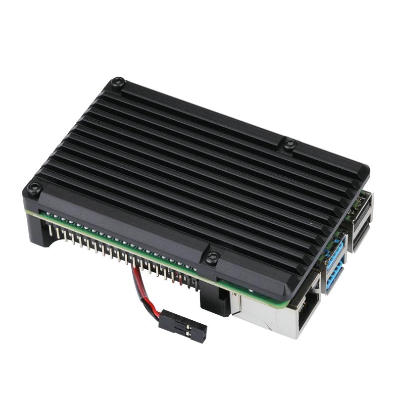 Raspberry Pi 4 Aluminum Case with Dual Cooling Fan Metal Shell Black Enclosure for RPI 4 Model B No fan