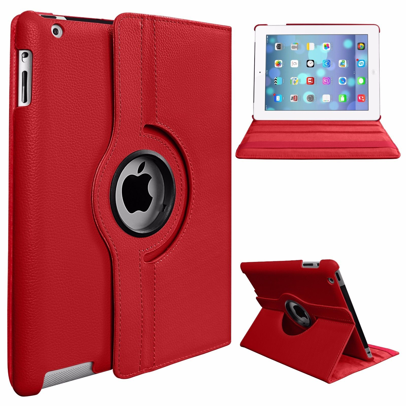 Rotating Stand PU Leather Case Cover Red