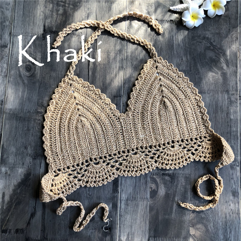 Women Delicate Knit Bikini Tops All-matching Bra Khaki_S