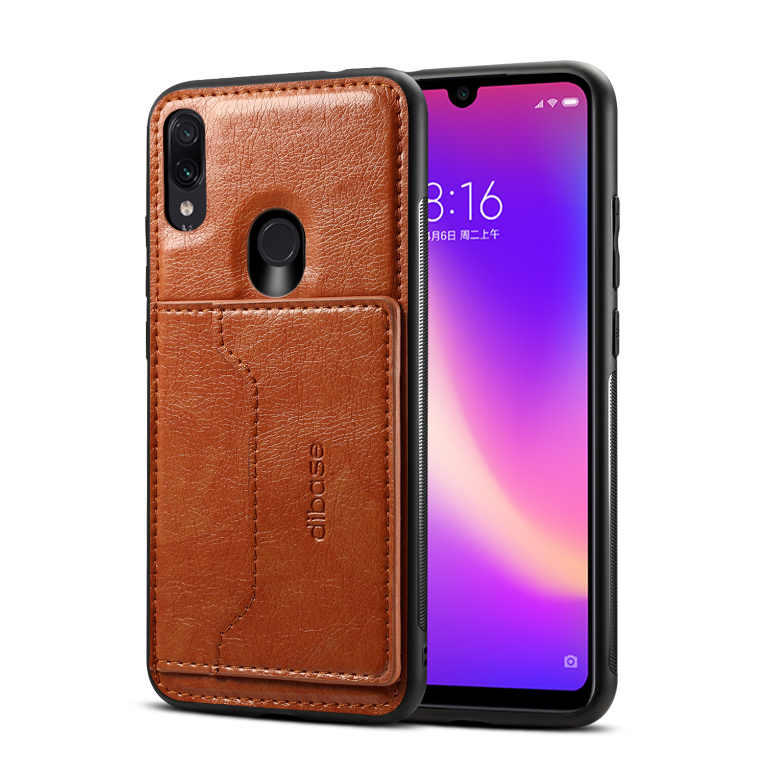 For Redmi NOTE 7 / redmi NOTE 7 pro Retro PU Leather Wallet Card Holder Stand Non-slip Shockproof Cell Phone Case brown
