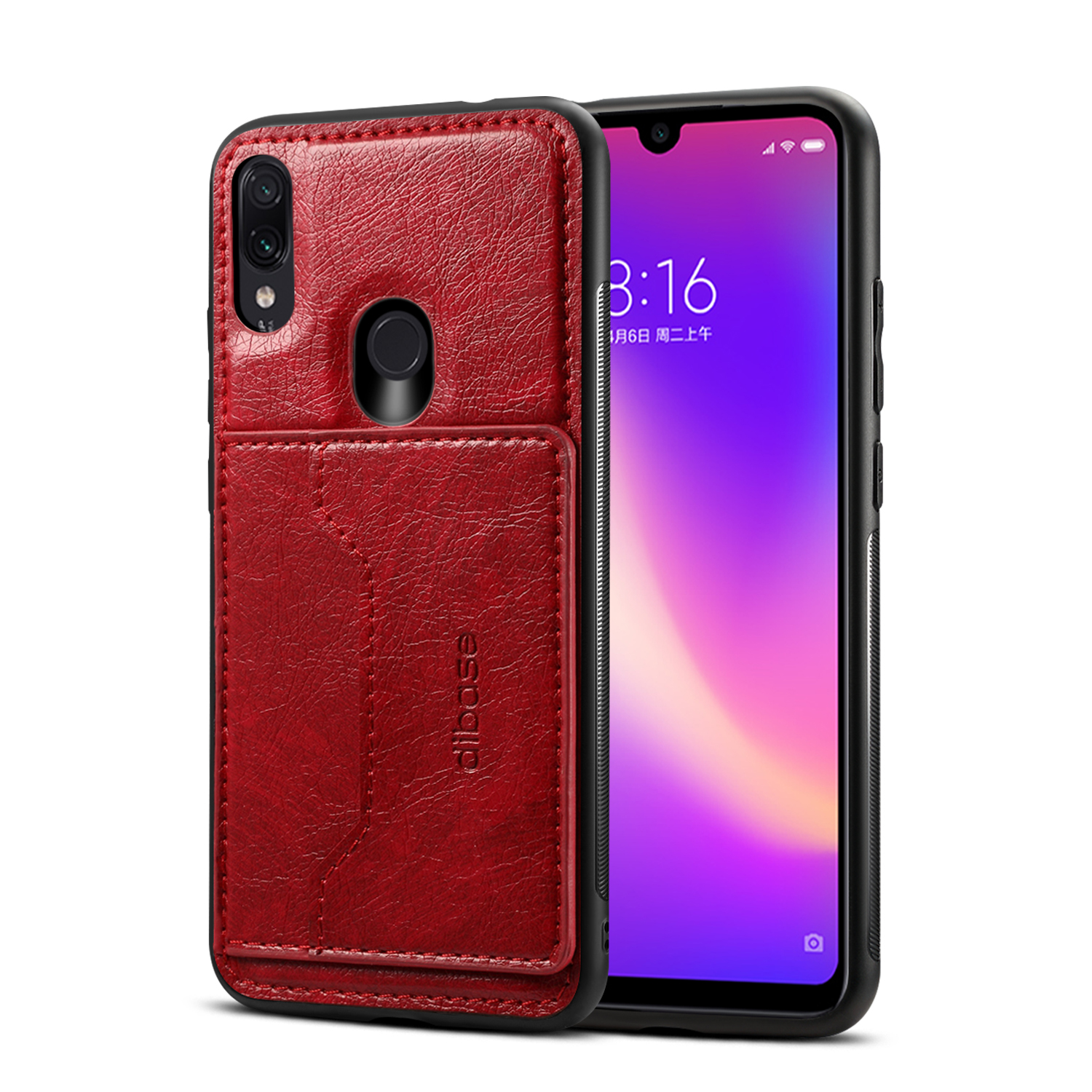 For Redmi NOTE 7 / redmi NOTE 7 pro Retro PU Leather Wallet Card Holder Stand Non-slip Shockproof Cell Phone Case red