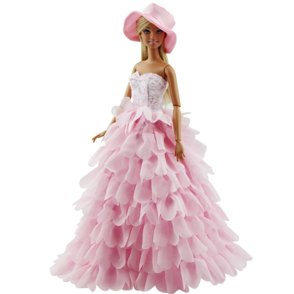 [US Direct] Princess Evening Party Clothes Wears Dress Outfit Set doll with Hat