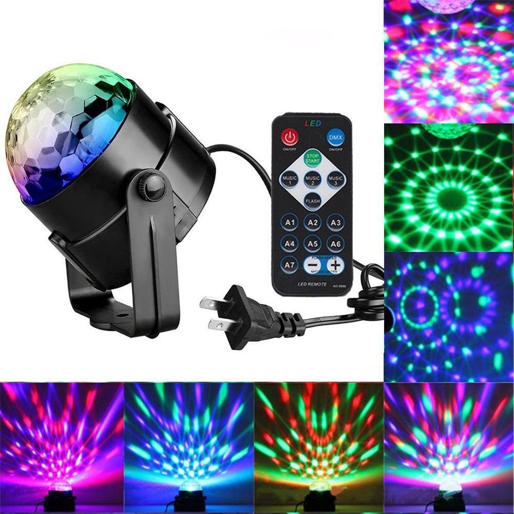 Led Stage  Light Ball Rotation Sensor Music Disco Light For Bar Decoration U.S. plug