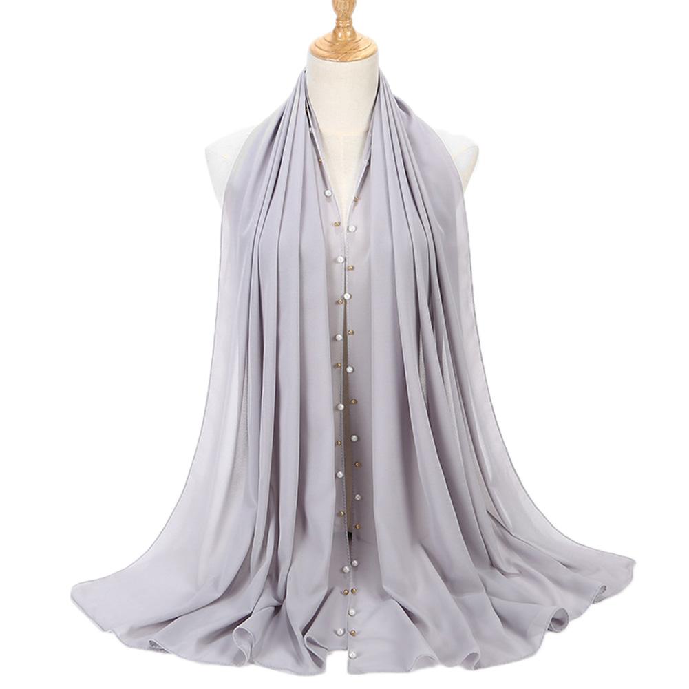 Women Solid Color Pearls Chiffon Scarf Muslim Lady Hood Headcloth