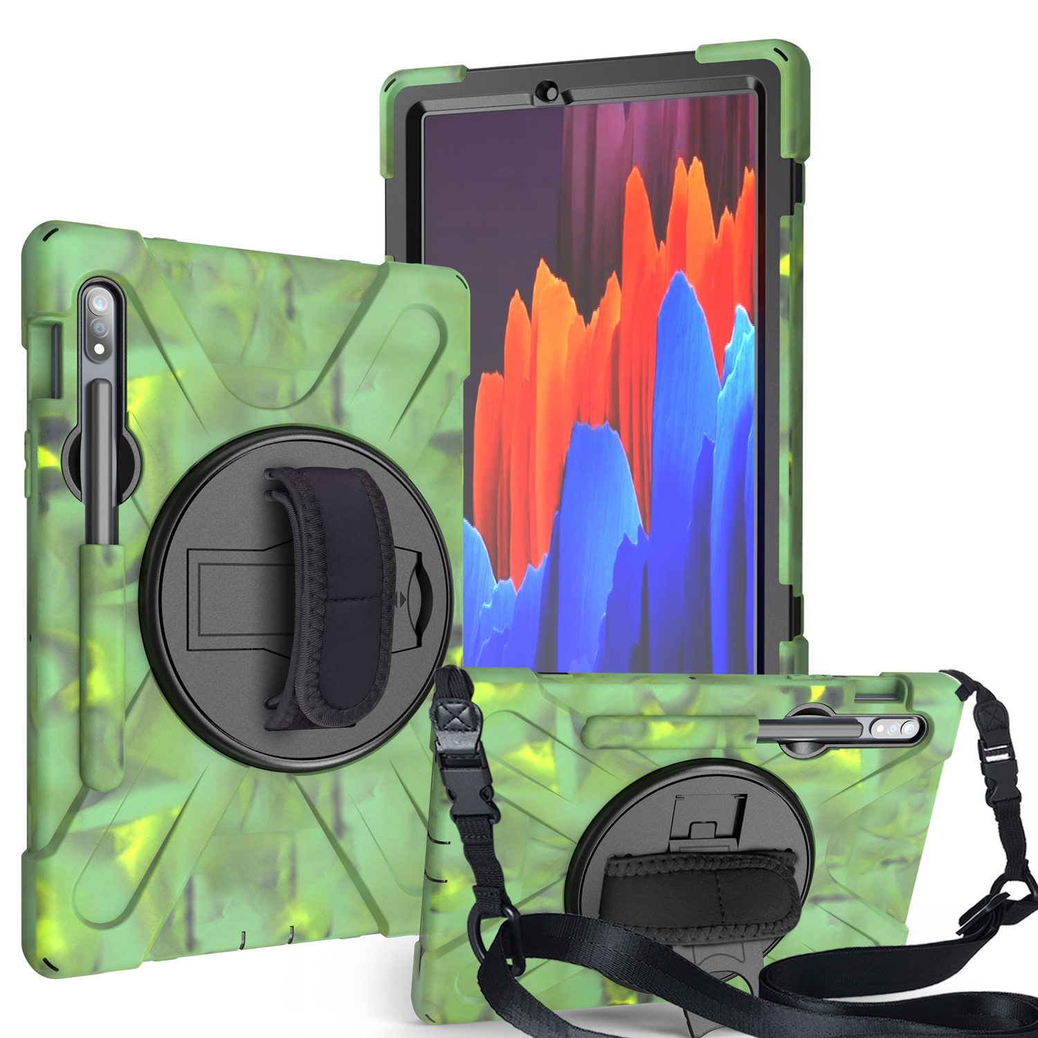 For Samsung Tab S7 T870 /Tab S7 Plus T970/T975 Protective Cover with Pen Slot Anti-fall Belt Holder + Wristband + Straps Camouflage_Samsung Tab S7 T870 (2020)
