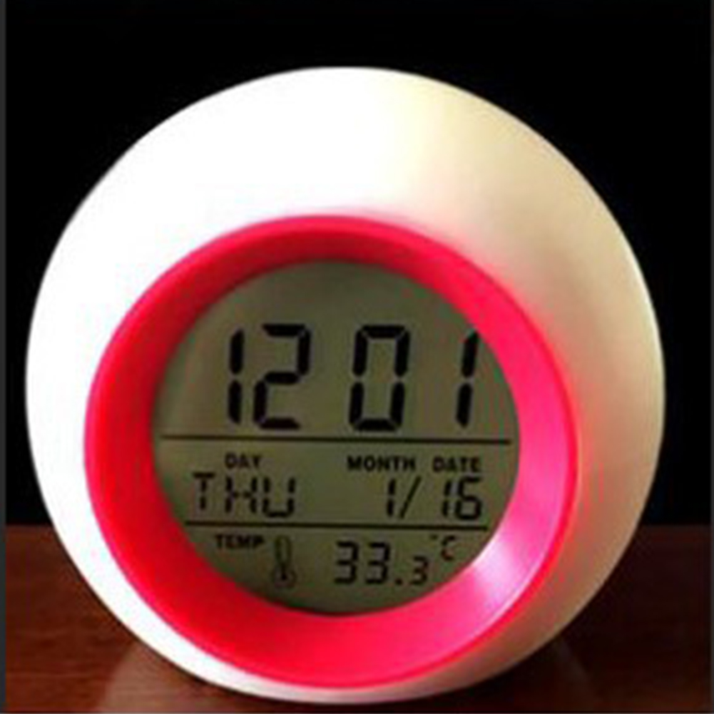 Creative Spherical 7 Colors Changing Light Natural Sound Alarm Clock Rose red