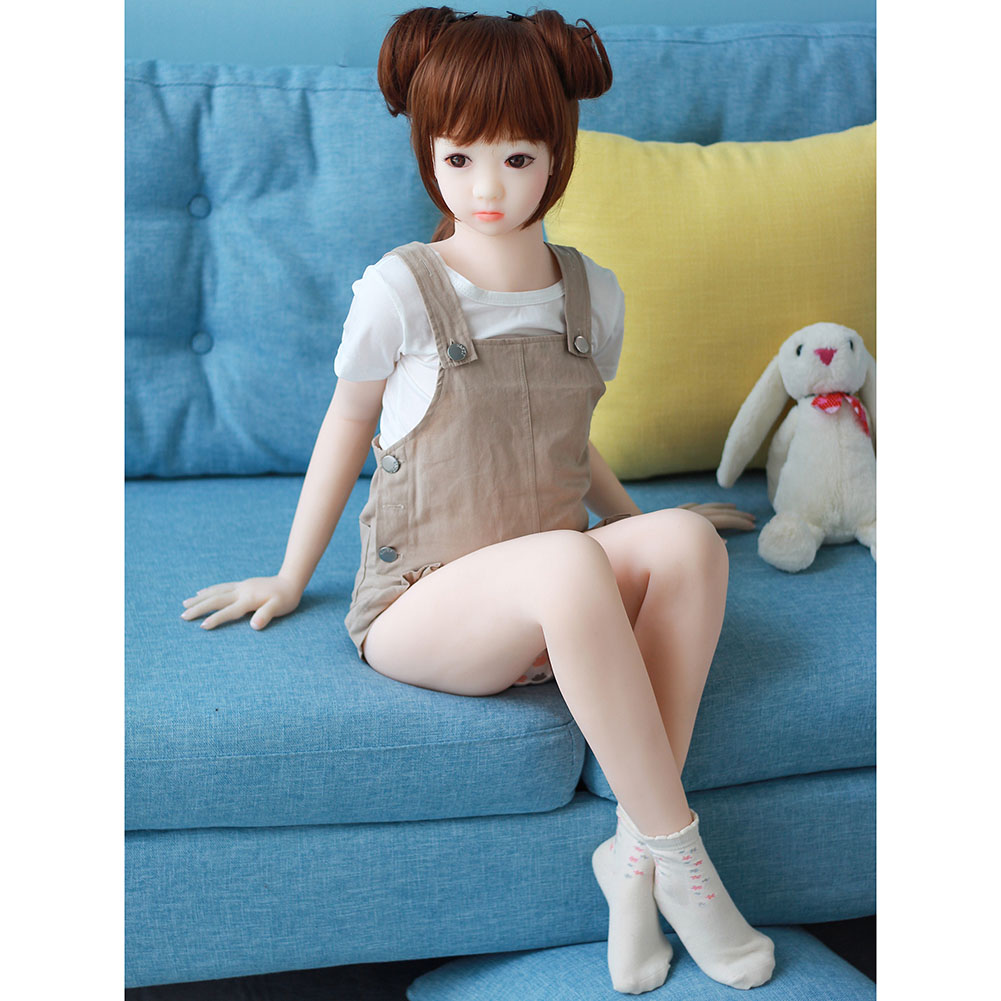 128cm All Silicone Flat Chest Sex Doll Oral Anus Vagina Japanese Adult Skeleton Mini Anime Real Life Love Doll 128cm flat chest
