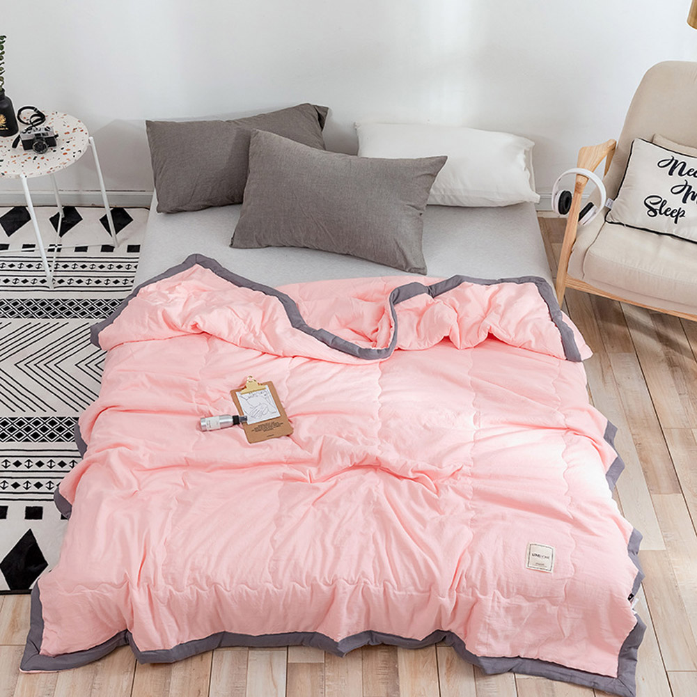 Air Condition Quilt Breathable Simple Summer Quilt for Home Beds Sleeping pink_150*200cm