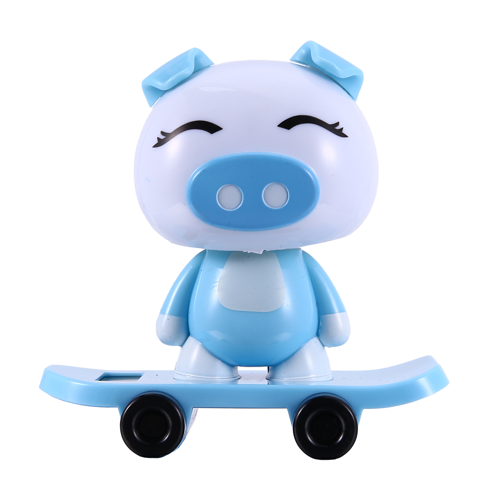 Solar Powered Dancing Cute Animal Monkey Pig Panda Dog Boy Girl Toys for Dashboard Desk Home Office Blue