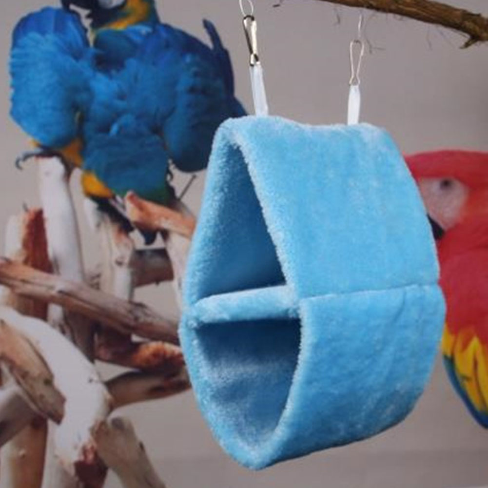 Double Layer Plush Nest Parrot Bird Hammock with Hanging Hook for Pet blue_25*15*33