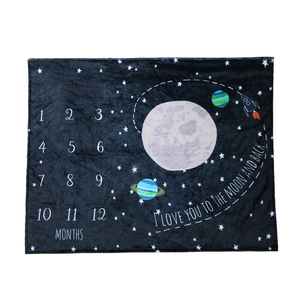 Baby Blanket Anniversary Flannel Growth Commemorative Blanket Baby Photography Props Starry sky_100*75cm