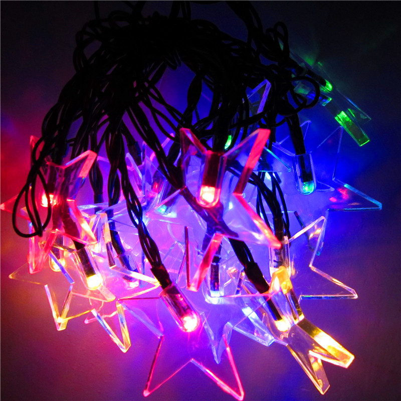 6M 30LEDs Waterproof Solar Powered Five Pointed Star Shape String Light for Decor Color light_(ME0004803)