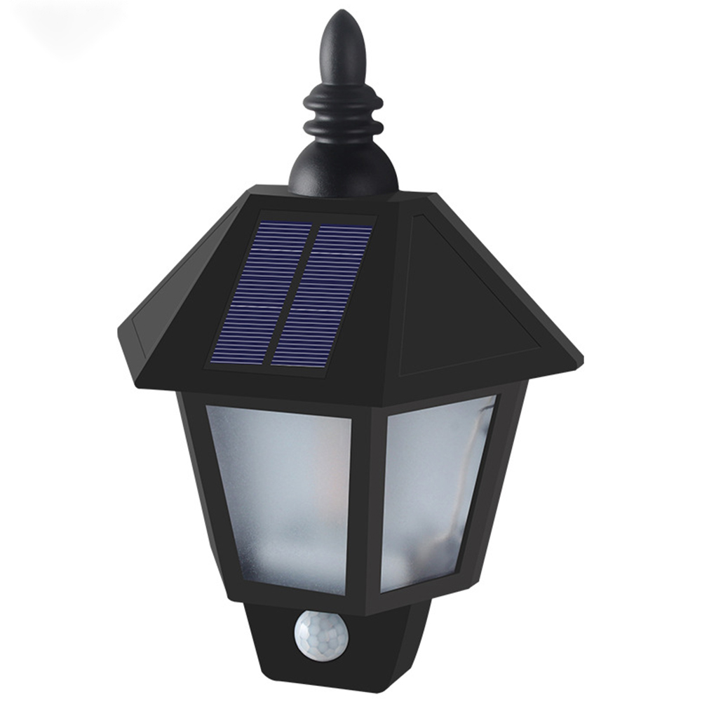 LED Solar Powered Wall Light Outdoor Waterproof Garden Body Induction Flame Lamp Flame body sensing mode