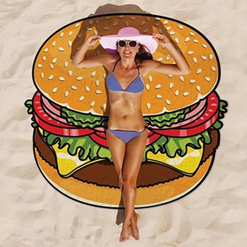 Round 3D Cute Food Pattern Printed Beach Towel Multi-Purpose Chiffon Towel Sunscreen Shawl Scarf  Chiffon