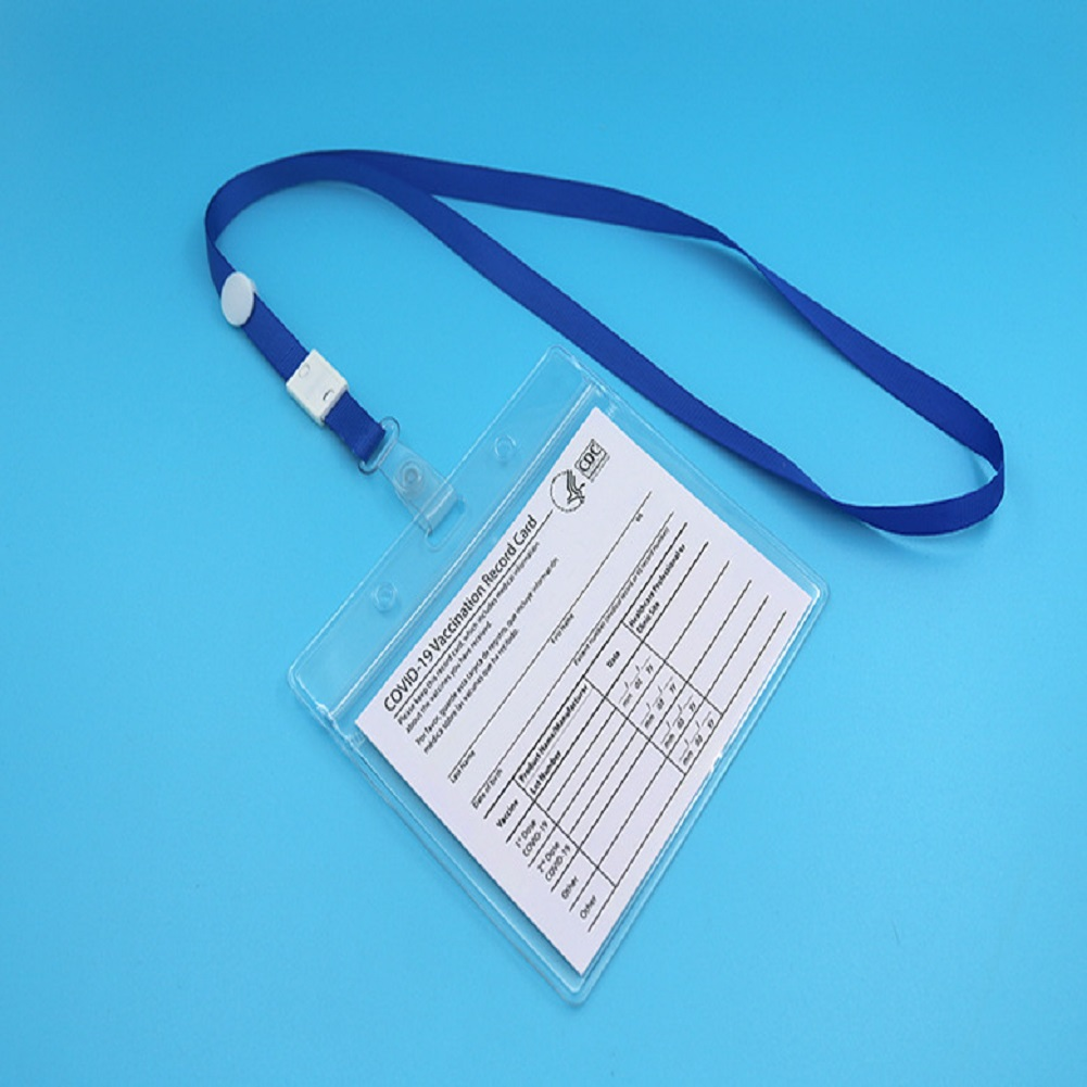 Vaccination Card Protector 4x3 Inches Immunization Record Vaccine Cards Cover Holder Clear Plastic Sleeve 1 set_Rope+Sleeve