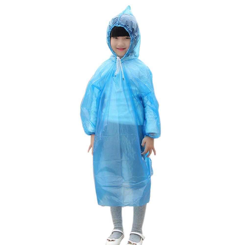 Pe  Children  Disposable  Raincoat Solid Color Convenient Pullover One-piece Raincoat