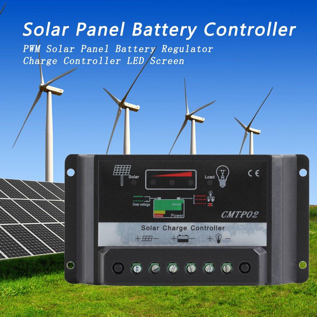 30A 12V / 24V PWM Solar Panel Charge Controller Battery Regulator LED Screen black