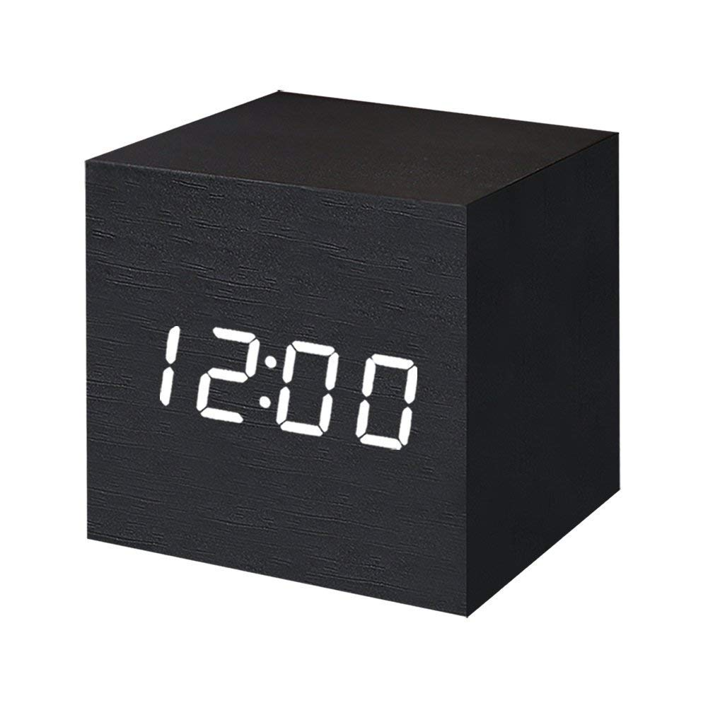Wooden Digital Alarm Clock LED Light Multifunctional Modern Cube Displays Date Temperature for Home Office Black wood white word