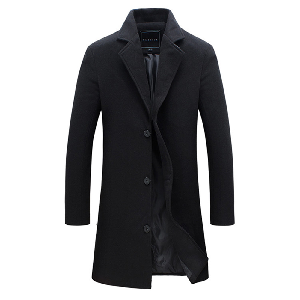Fashion Winter Men's Solid Color Trench Coat Warm Long Jacket Single Breasted Overcoat black_2XL