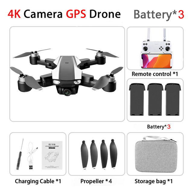 S105  Pro Drone 4k Gps Profissional Hd Dual  Cameras Optical Flow  Positioning 5g Wifi Brushless Gps Drones Foldable Quadcopter Toy 3 battery