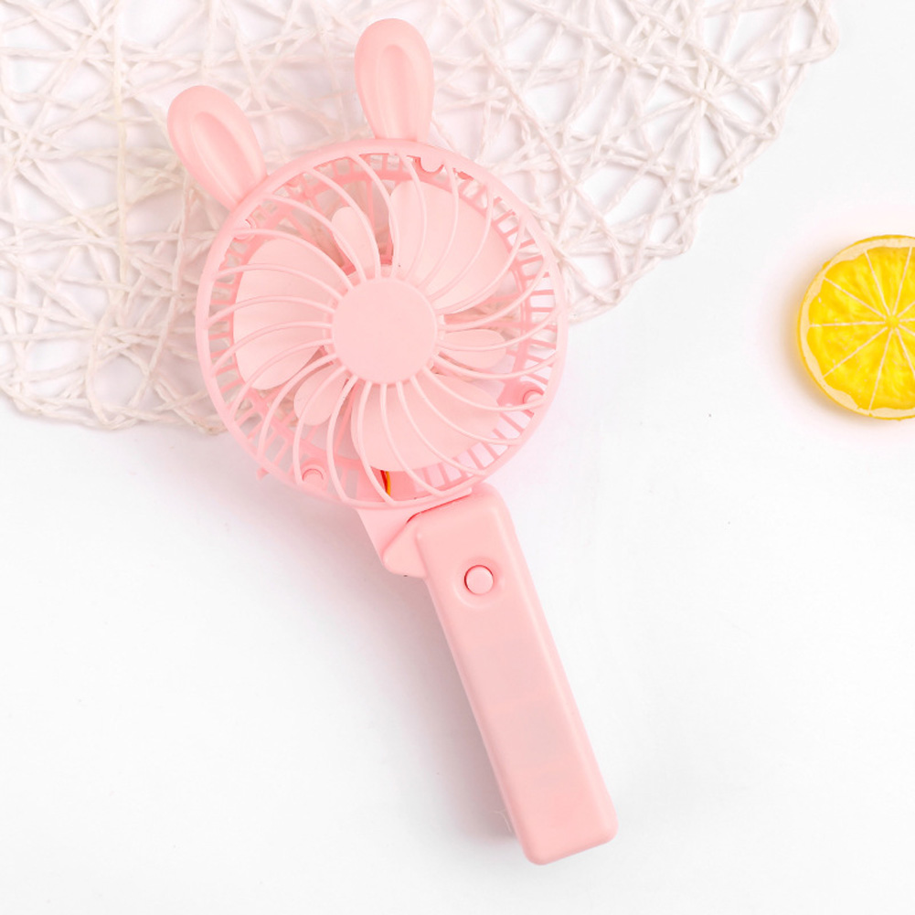 Usb Mini Folding Fans Electric Portable Cartoon Small Fans for Student Desktop Pink purple rabbit ears_22.5*2.5cm