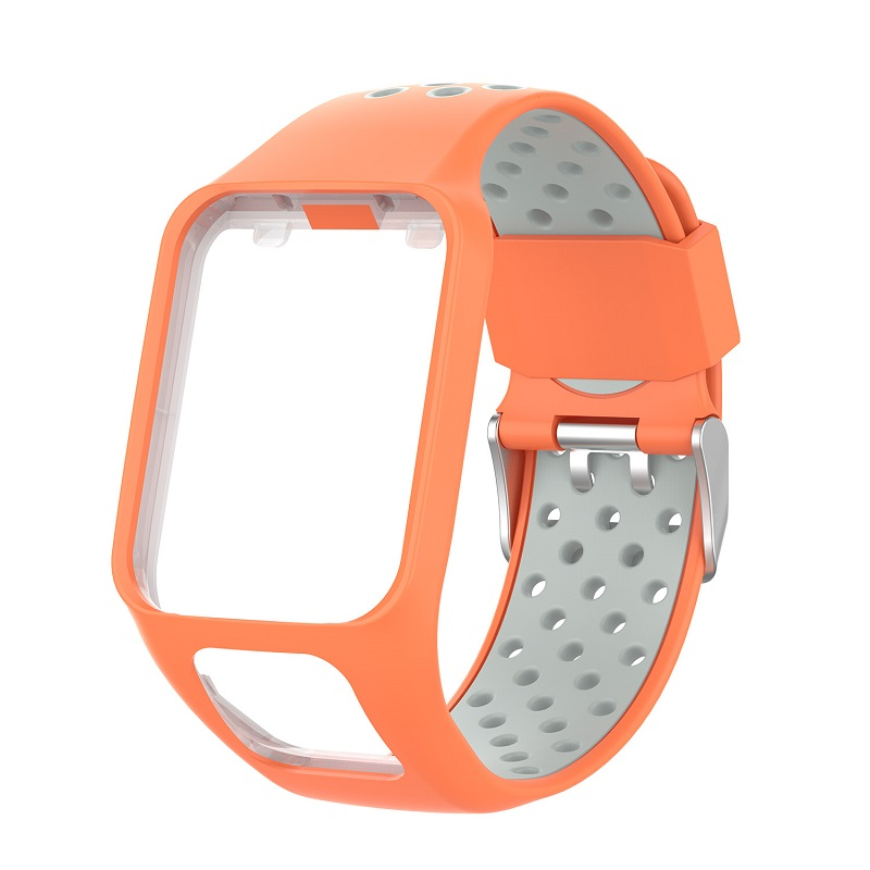 Replacement Silicone Pure Color Watch Strap For TomTom Runner 2 / 3 Breathable Band for Golfer2 Adventunrer Universal Sport Smart Watch Wristband Watch Accessories Orange gray