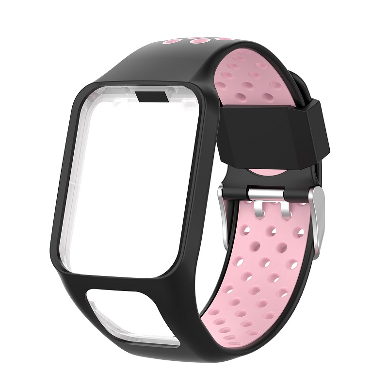 Replacement Silicone Pure Color Watch Strap For TomTom Runner 2 / 3 Breathable Band for Golfer2 Adventunrer Universal Sport Smart Watch Wristband Watch Accessories Black pink