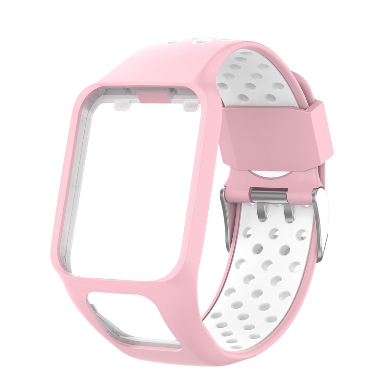 Replacement Silicone Pure Color Watch Strap For TomTom Runner 2 / 3 Breathable Band for Golfer2 Adventunrer Universal Sport Smart Watch Wristband Watch Accessories Pink white