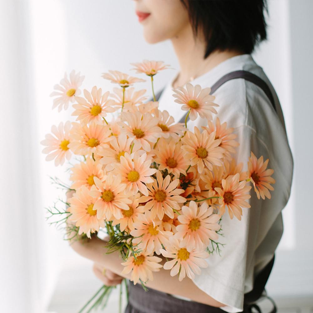 Simulation  Small  Daisy  Chamomile Fresh Fake Dried Chrysanthemum Living Room Decoration Champagne