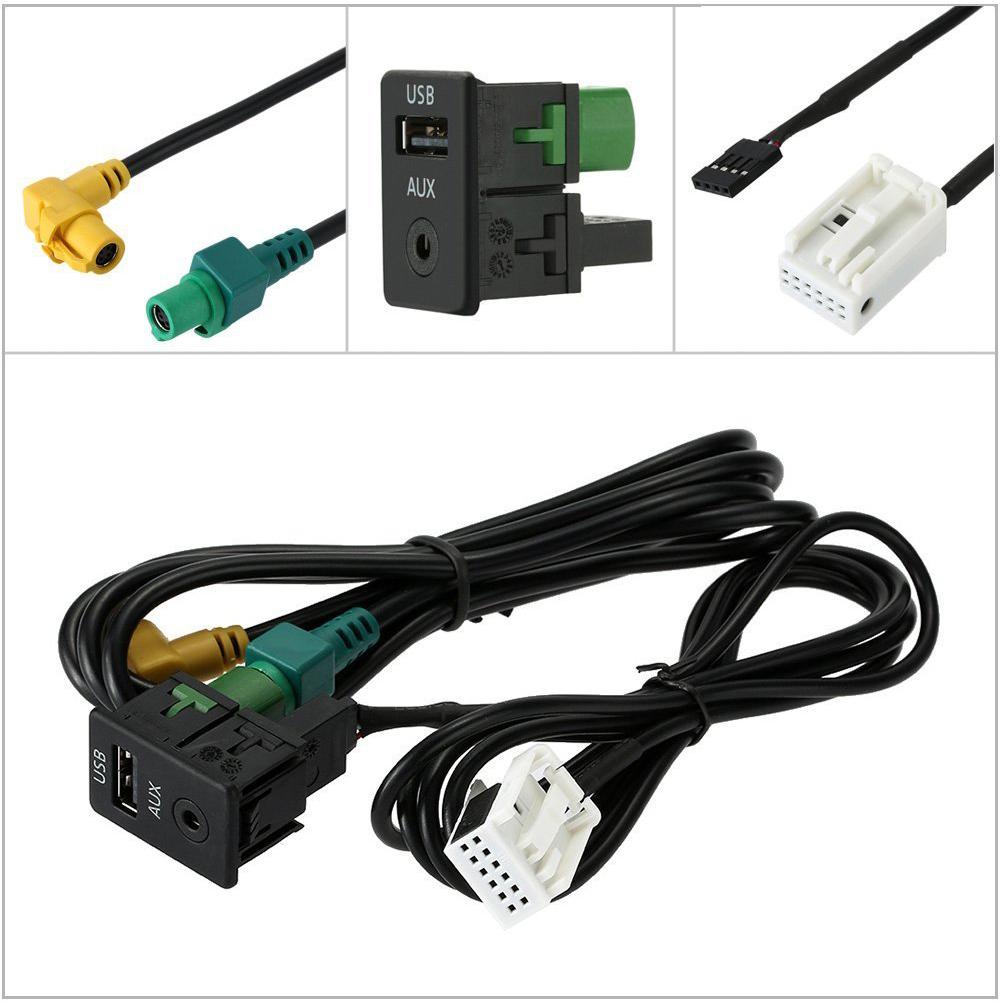 USB 3.5mm AUX Switch Socket RCD510/310+/300+ for VW Magotan Touran POLO black