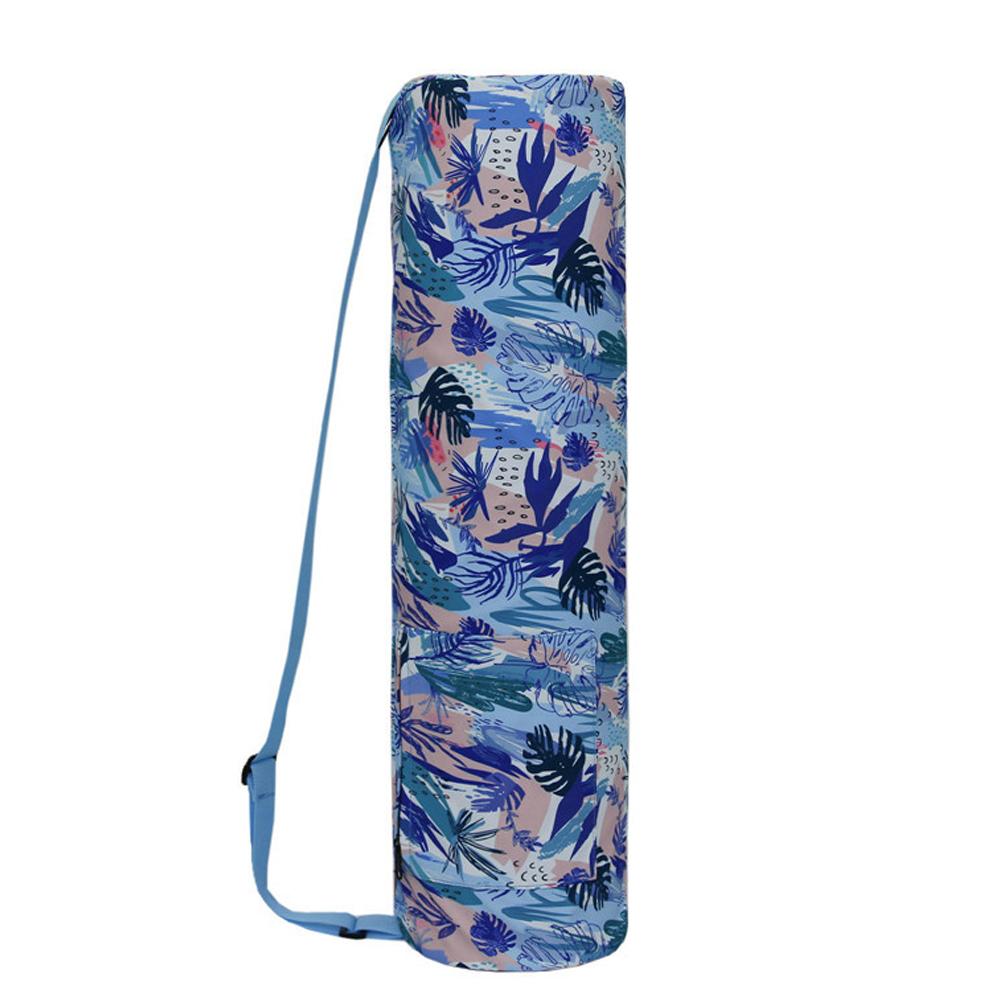 Waterproof Printed Canvas Yoga Bag One Shoulder Mat Storage Bag Pilates Floor Exercis Fitness Blue print