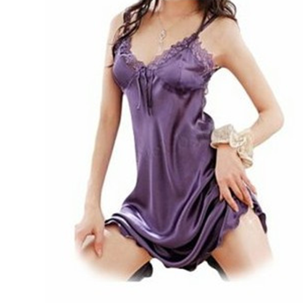 Lady Lace Brim Pajamas Nightdress Pure Color Woman See-through Sexy Underwear  purple_Free size