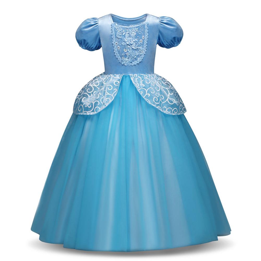 Girl Delicate Lace Long Dress Elegant Lovely Fluffy Princess Dress for Halloween Show blue_140cm