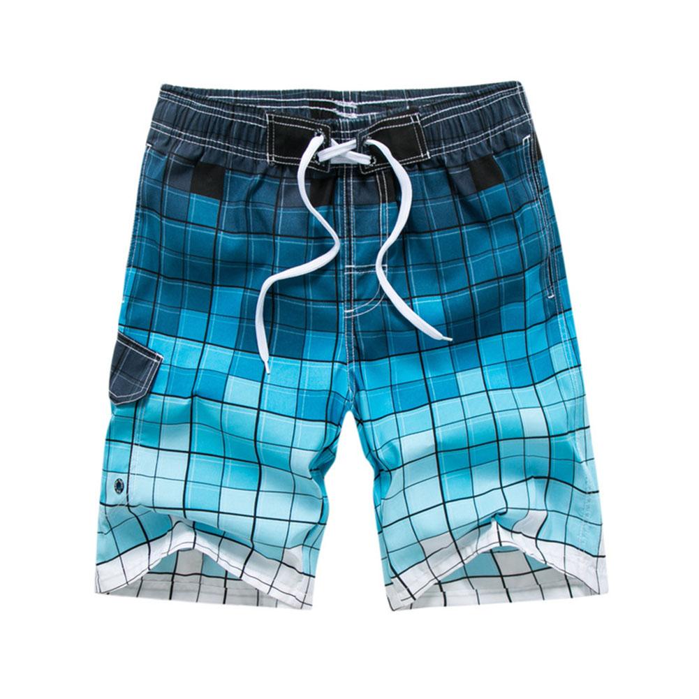 Men Fashion Printing Beach Pants Casual Home Wear Surf Shorts blue_XL