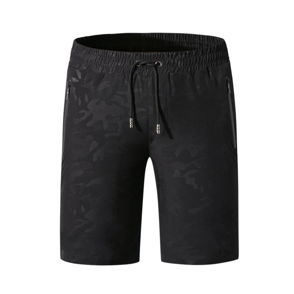Men Casual Shorts Sports Fast Dry Beach Middle Waist Thin Breathable Shorts black_XL