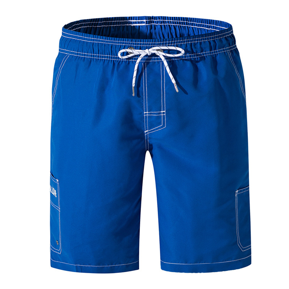 Men Sport Pants Loose-fitting Solid-colored Multi Pockets Beach Shorts blue_M