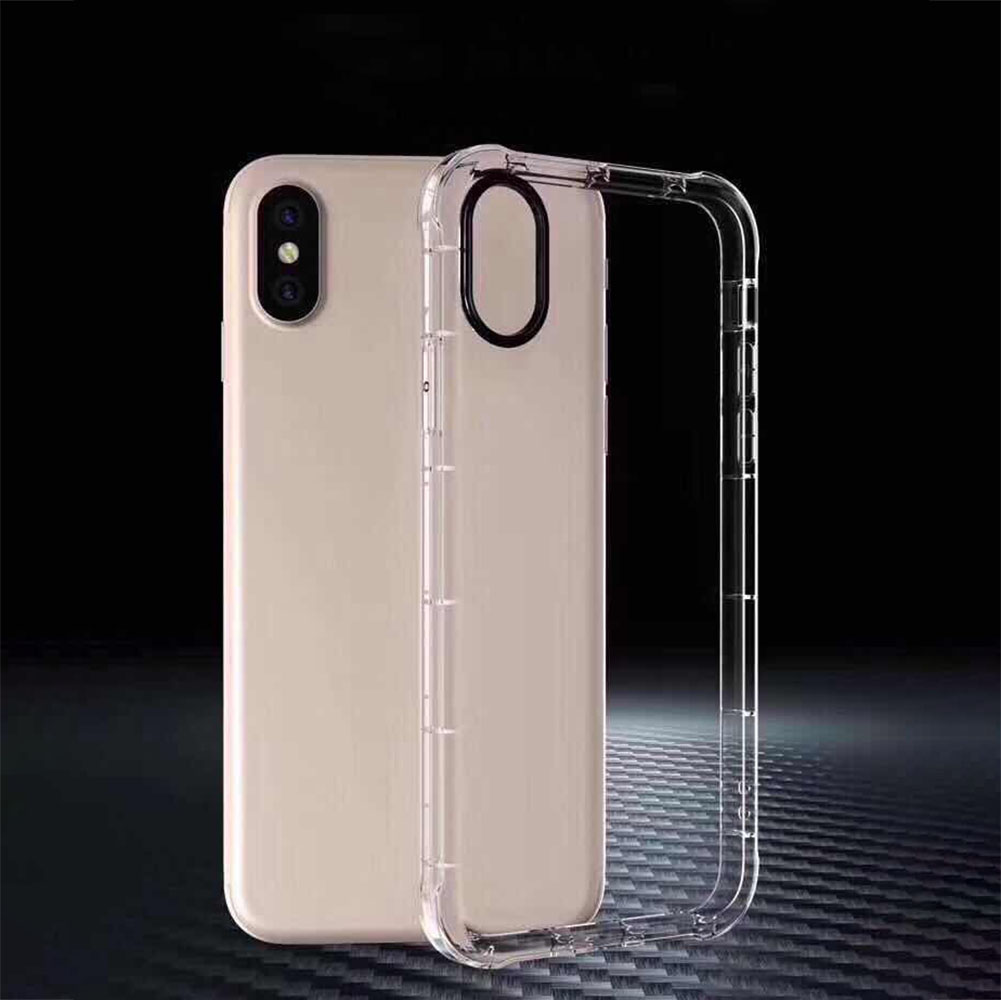 For iPhone 7/8/7Plus/8Plus/X/6/6s/I5/5S/SE Transparent TPU Shockproof Full Protection Back Case Cove