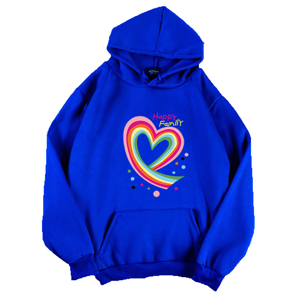 Men Women Hoodie Sweatshirt Happy Family Heart Thicken Autumn Winter Loose Pullover Tops Blue_M