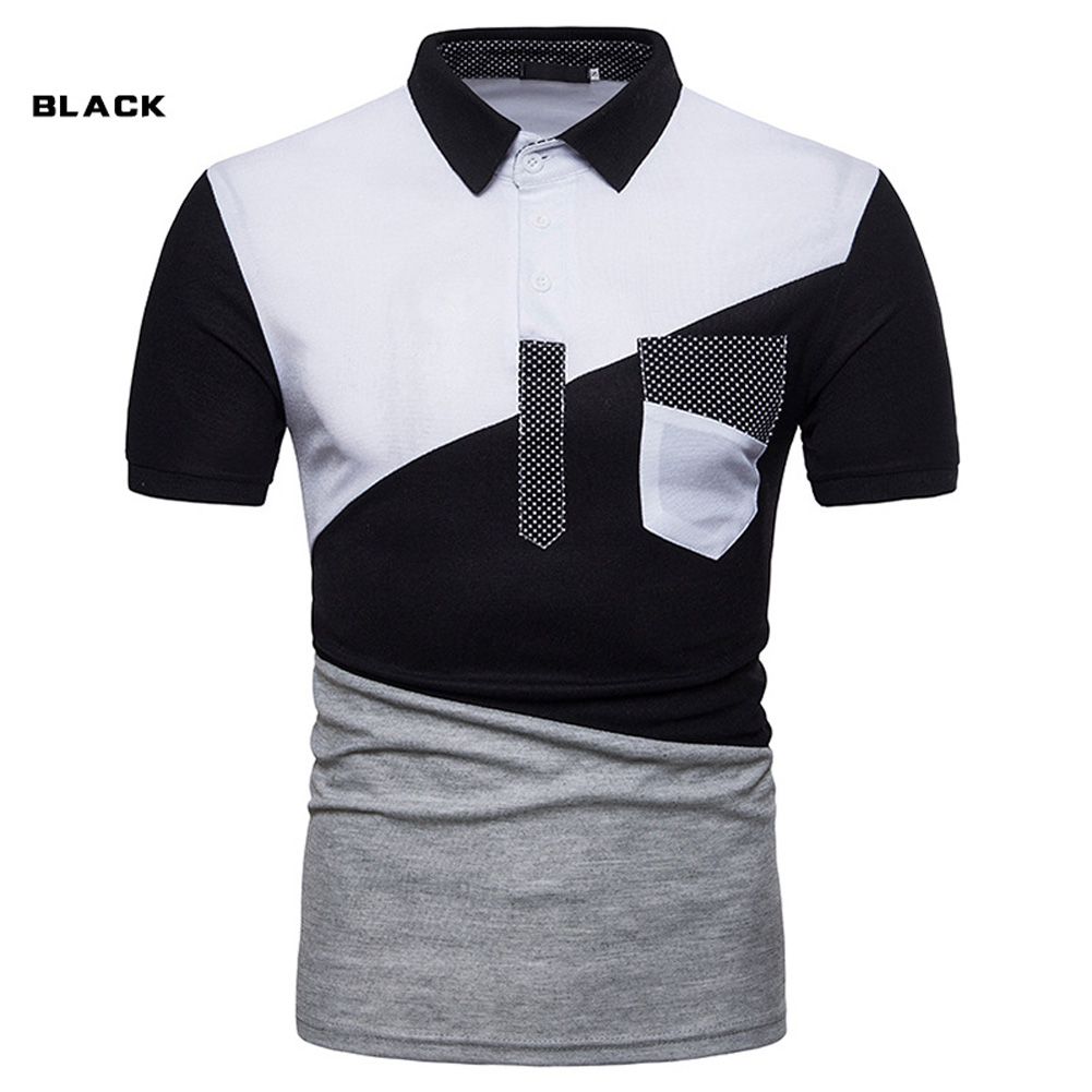 Male Short Sleeves and Turn-Down Collar Pullover Contrast Color Top Polo Shirt black_2XL