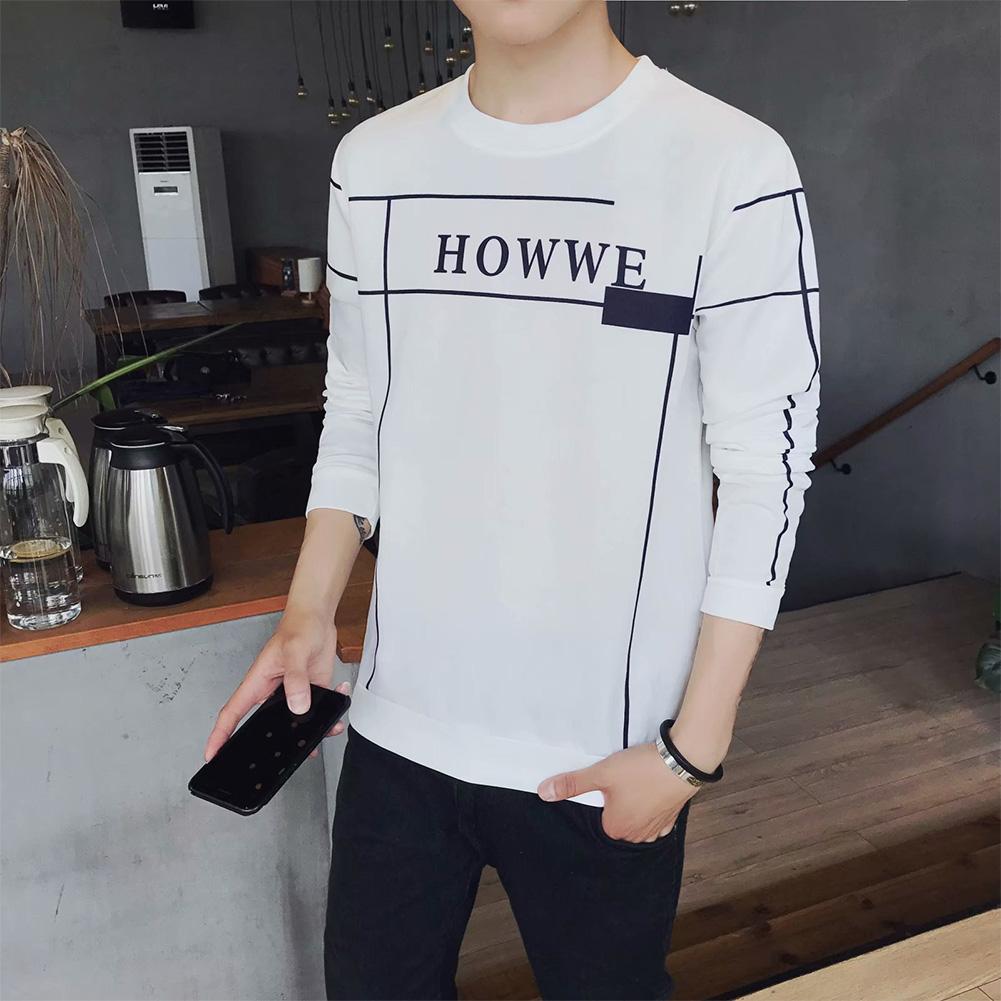 Men Autumn Fashion Slim Long Sleeve Round Neckline Sweatshirt Tops D113 white_L