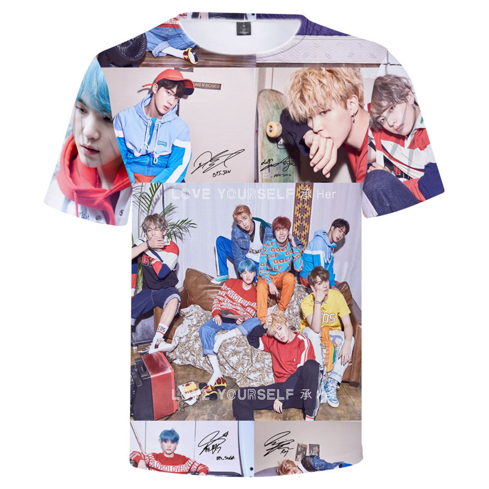 BTS 3D Digital Printed Shirt Loose Casual Leisure Short Sleeves Top for Man 3Dd_S