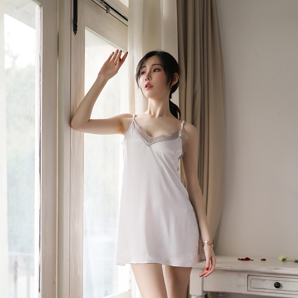Lady Lace Deep V-Neck Back Split Sling Nightdress + Briefs Sexy Temptation Lingerie Underwear white_One size