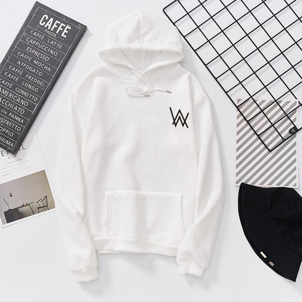 Women Men Lovers Fashion Thicken Loose Fleece Long Sleeve Hooded Sweatshirt white_XL