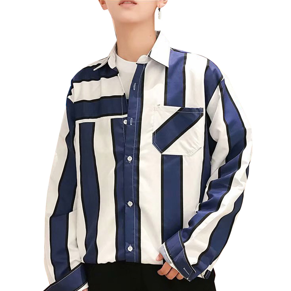 Men Striped Pattern Long Sleeve Loose Casual Shirt blue_M