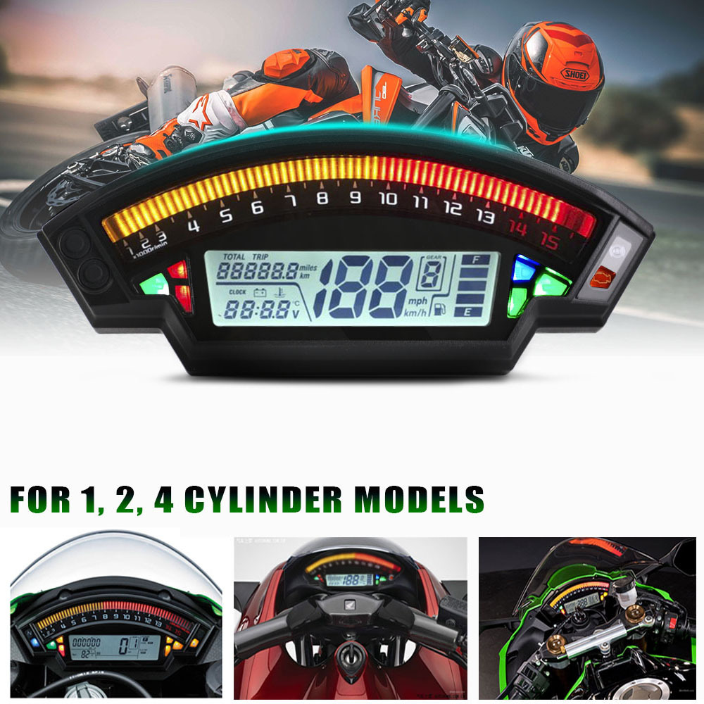 Lcd Display 6 Modes Colors Meter Odometer Speedometer Water Temperature Oil Universal Motorcycle Modified Accessories