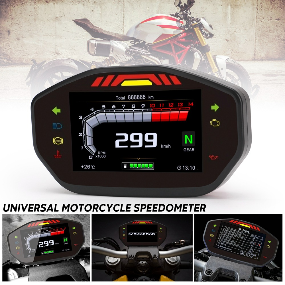 General Motorcycle LCD TFT Digital Speedometer 14000RPM 6 Gear Backlit Motorcycle Odometer for 2 4 Cylinder