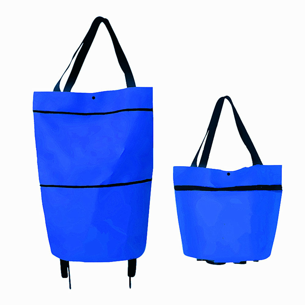 Folding Shopping Bags Trolley Grocery Shopper Lightweight Foldable with wheels blue